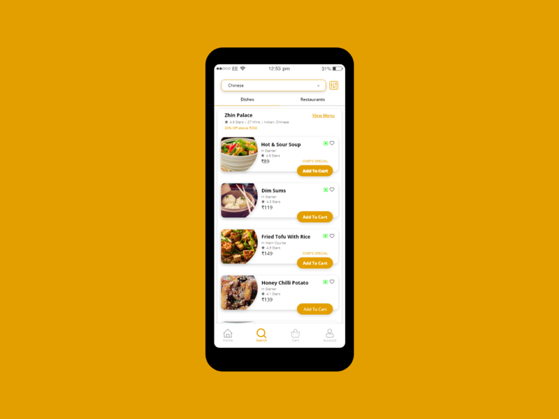 Search result of a food delivery App food app search search result dishes e-comerce food delivery food app ui app daily ui challenge ui ux design dailyui