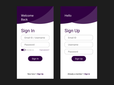 Sign in page Sign up page UI 001