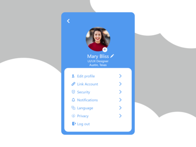 Settings page of a app