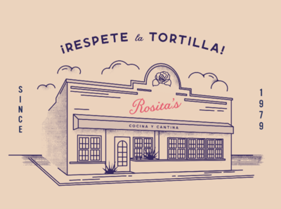 Respete la tortilla! texture rose restaurant mexican building illustraion