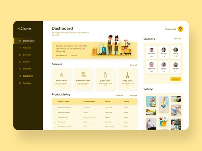 Homecleaner UI concept.