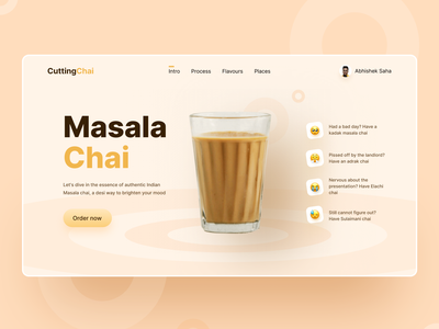 Cutting Chai UI Design web uxresearch design behance clean ui trendy design masala tea shop tea webdevelopment webdesigner webdesign website uxdesign uxui uidesign uiux