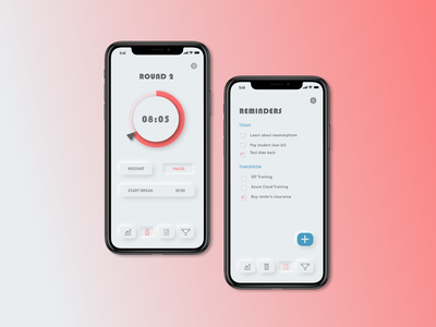 Pomodoro Method design adobe adobe xd timer timer app pomodoro mobile design mobile ui mobile uiux neomorphic neomorphism interface photoshop ui ux app