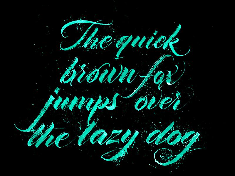 Pangram calligraphy typography lazy dog type expressive rulingpen splatter ink handwriting calligraphy lettering pangram