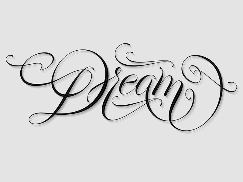 Dream calligraphy dreaming dream cursive type letters typography glyps vector customlettering handlettering script