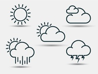 Lined weather icons