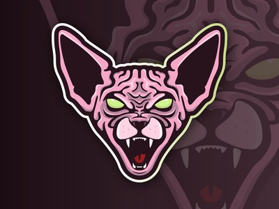 Sphynx Cat Mascot Logo dribbleweeklywarmup mascot sphynx hairless cat cat egaming twitch gaming sports football vector mark design brand character design logo branding illustration