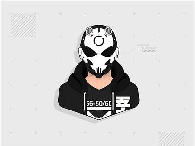 "Bonehead ""Black Death"" machine56 cyberpunk black death bonehead vector fan art character design illustration"