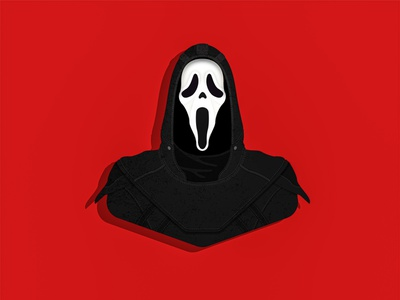 Ghostface portrait character design vector fan art illustration horror slasher scream ghostface