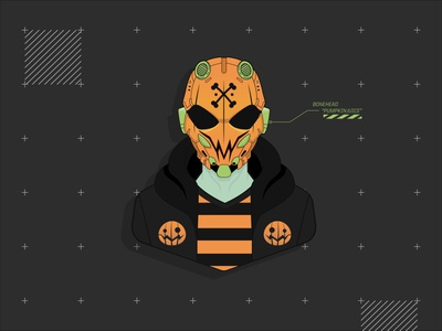 "Bonehead ""Pumpkinjuice"" cyberpunk bonehead machine56 spooky pumpkin dribbbleweeklywarmup halloween portrait vector fan art design character design illustration"