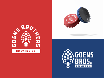 Goens Brothers Brewing Co. painting brushes painting hops beer branding alcohol packaging brewery beer vector mark brand design logo branding illustration