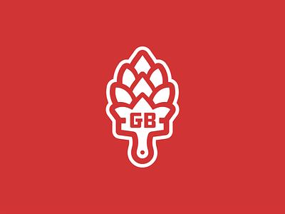 Goens Bros. Brewing Co. Mark brush painting paintbrush hops brewery alcohol beer minimalism vector mark brand design logo branding illustration