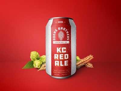 Goens Bros. KC Red Ale arrowhead kansas city chiefs ale painting hops brewery alcohol beer branding beer beer can packaging