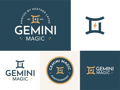 Gemini Magic lightning astrology photographer photography vector mark brand design logo branding illustration magic