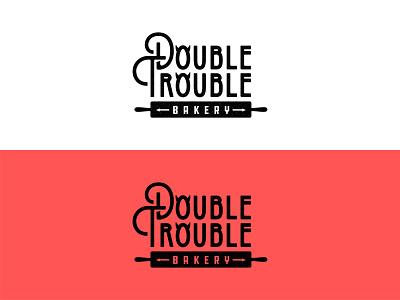 Double Trouble Bakery cupcake restaurant food cupcakes devil horns devil twins baker bakery baking minimalism vector mark brand design logo branding illustration
