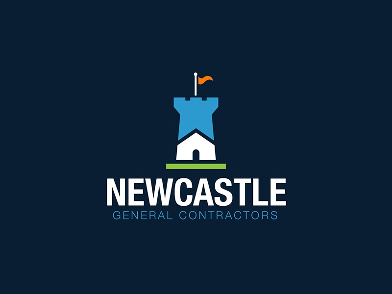 Newcastle flag renovation construction castle house letter branding brand logo