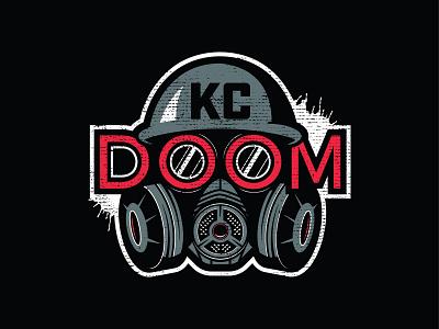 KC DOOM sport mascot distressed gas mask mask paintball vector logo illustration branding