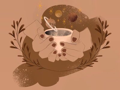 Astro coffee illustration hands earth procreate galaxy nebula universe planets astro coffee plants digital drawing