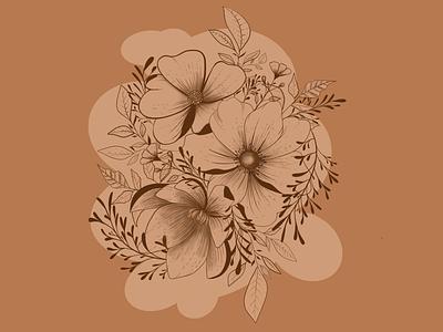 Bouquet earth leaves plant ipad procreate warm illustration line flowerillustration bouquet flowers