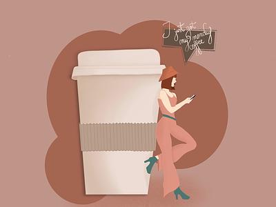 Mondays business hustle busy work text phone ipad procreate illustration mondaymood summer warmcolors girl coffee monday