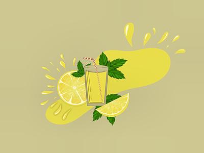 Limonade drawing juice yellow procreate illustration mint lemon hot summer limonade