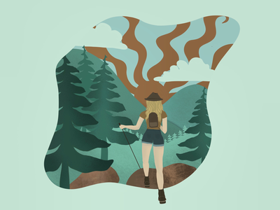 Wander clouds sun procreate hiking illustration forest earthtones green wanderlust girl mountain
