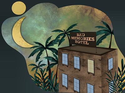 Hotel text brick textures grunge jungle procreate light windows galaxy moon plants palm hotel illustration