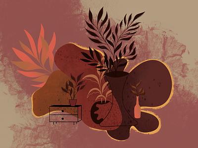 Idk shapes line textures earth warm procreate plants pots random