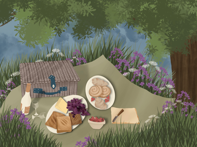 Picnic strawberry cheese grapes cinnabons croissant knife tree glasses scenary woods basket grass flowers green outdoor wine picnic
