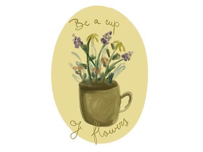 Cup of flowers procreate warm digital flowers cup