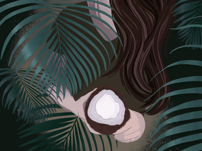 Tropical green illustration procreate tropical jungle leaves girl coconut