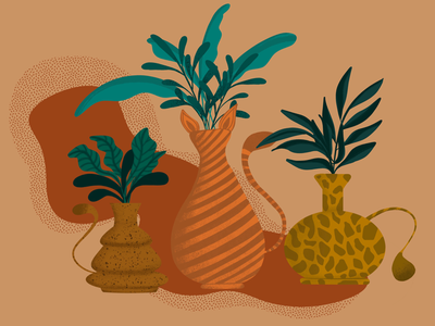 Cat vases leaves warm colors cats vases procreate