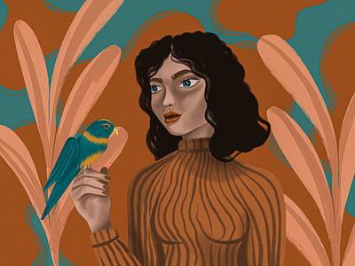 Birdie texture grain illustration warm girl bird procreate