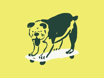 Skate Guy vector skateboarding bulldog dog illustration
