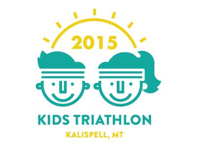 Kids Triathalon Update triathalon illustration kids vector branding identity lines logo cute happy