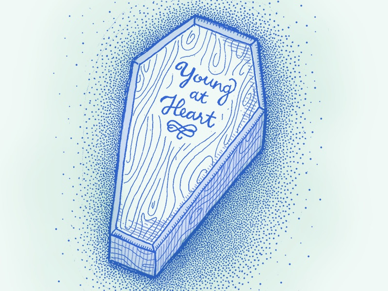 Forever Young forever young flourish lettering wood coffin dots texture illustration