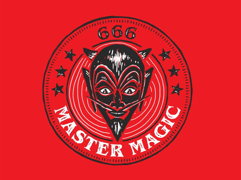 Master Magic token badge texture halloween devil illustration
