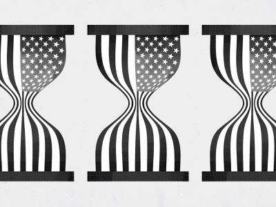 Flag Time book cover texture editorial hourglass america politics illustration