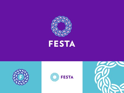 Festa Logo Reject leaves typography vector icon geometric branding logo identity