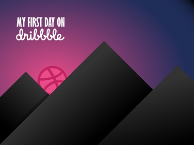 First Day on Dribbble first day dribbble invitation start illustration sunrise new