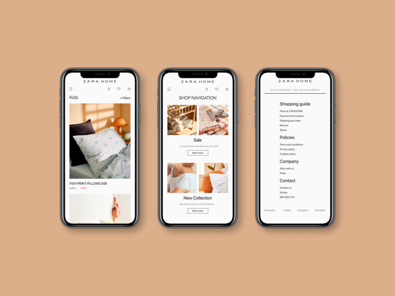 ZARA HOME Redesign minimal webstore store web mobile website app ux design ui