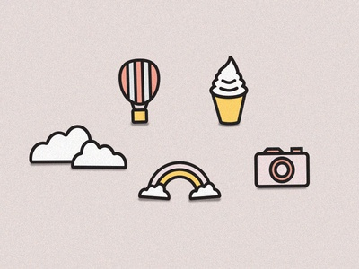 Balloon, Clouds, Ice Cream, Camera & Rainbow Icons