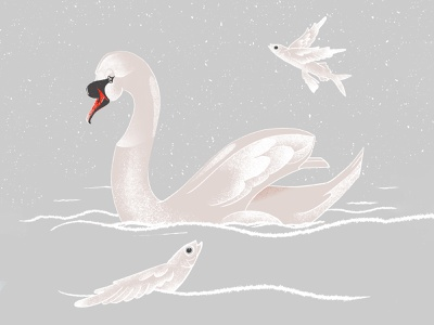 Swan & The Flying Fishes textured illustration digital painting flying fsh bird swan illustration anotheroutsider