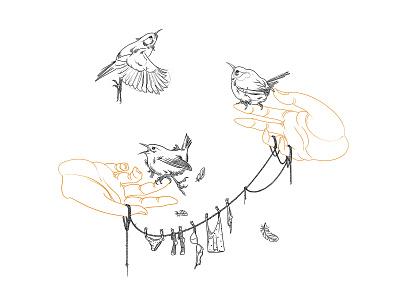 Wrens tattoo flying bird hand pose hands bird illustration birds tattoo design wren georgianul georgian constantin illustration anotheroutsider