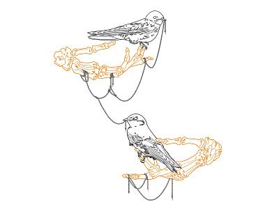 Swallow and skeleton hands anatomical bondage tattoo artist tattoo tied skeleton hands bird on skeleton hand perched bird birds swifts swallows tattoo design. georgianul georgian constantin illustration anotheroutsider