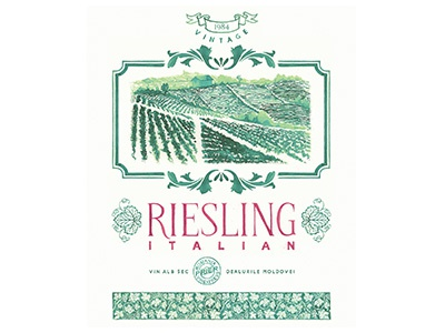 Italian Riesling Handpainted Label watercolor illustration watercolor lettering watercolor label georgian constantin italian riesling painted label hand painted label wine label illustration watercolor lettering anotheroutsider