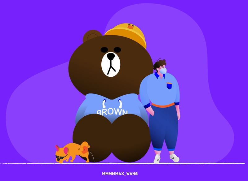 A nice day with my good friend Brown Bear in Taikoo Li, Chengdu. branding ui illustrator illustration flat design animation