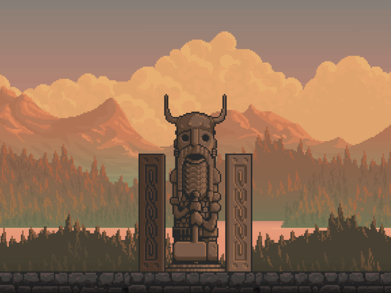 ELDER ALTAR pixel art gameart game fiction design artwork 8bitart 8bit 16bit indiegame indiedev gamedev environment statue prop norse viking rpg pixelartist pixelart