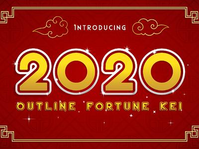 2020 Outline Fortune Kei Font typography font techno lucky futuristic fortune famous elegant decorative bold graphic design