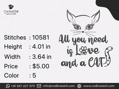 Cat Love Quote illustration logodesign embroidery digitizing vectorizing services convert your artworks to vector custom digitization in usa custom computerised embroidery custom embroidery digitizing custom digitizing custom t-shirt desgn